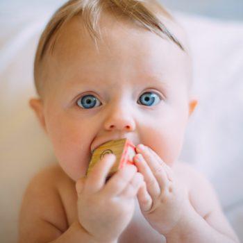 Bébé mangeant un cube